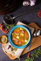 polish pea soup (grochowka) with smoked bacon and sausage