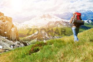 Mann beim Wandern in den Alpen im Sommer