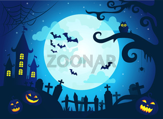 Halloween background with scary castle, pumpkins, bats and big moon