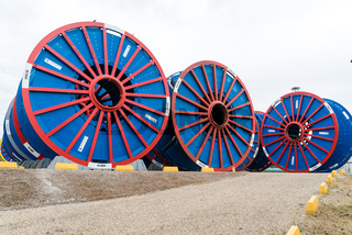 empty subsea umbilical cable reels ready for reloading
