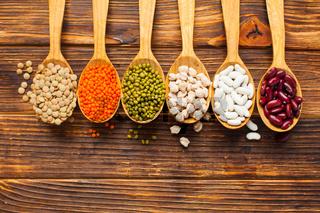 Healthy food vegetarian background. Various organic legumes