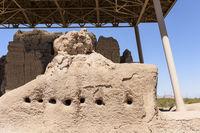 Exterior wall of community Structure at Casa Grande Ruins in Arizona.