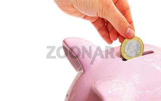 Euro coin saving and piggy bank