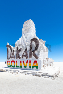 Bolivia salt sculpture dedicated to the Dakar race in the Salar of Uyuni