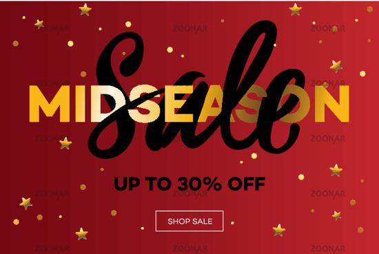 Midseason Sale. Christmas Sale web banner. Vector illustration.