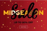 Midseason Sale. Christmas Sale web banner. Vector illustration.