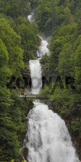 Giessbach Falls in early summer. Stunning waterfalls near Interlaken, Switzerland.