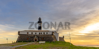 View of the famous Barra Lighthouse in Salvador, Bahia