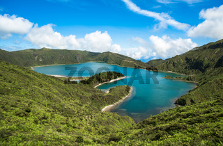 Panoramic view of Fogo lake in Sao Miguel Island, Azores, Portugal