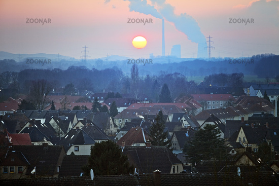 residential area and Bergkamen power station at sunset, Hamm, Ruhr Area, Germany, Europe