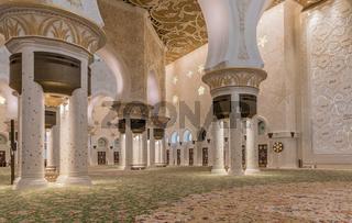 Scheich Zayed Moschee im Innern,  Gebetsraum, Abu Dhabi,