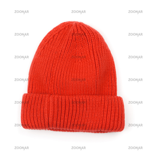Red knitted wool beanie hat