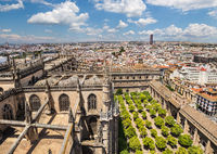 View of Orange Garden from Giralda Tower of the Cathedral of Seville, Spain