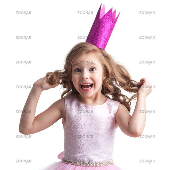 Little princess girl in pink dress