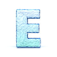 Ice crystal font letter E 3D