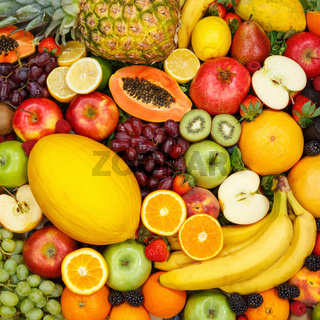 Fruits collection food background square apples oranges lemons fresh fruit