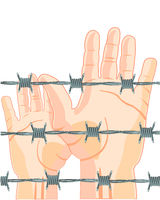 Hands of the people for barbed wire
