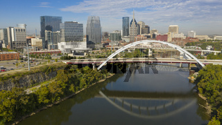 Historic Arch Bridge Carries Traffic over the Cumerland River next to Nashville