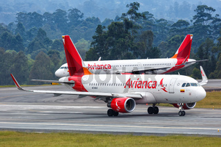 Avianca Airbus A319 airplane Medellin airport