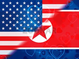 North Korean And American Sanctions Talks 3d Illustration