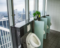 Toilet with a view of the Frankfurt skyline