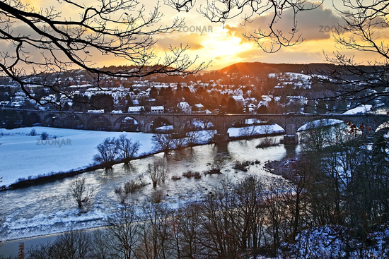 Ruhr valley in winter at sunset, Witten, Ruhr Area, North Rhine-Westphalia, Germany, Europe