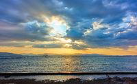 Beautiful sunset over the Aegan sea in Greece