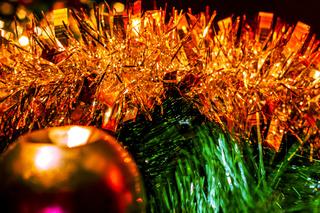 Tinsel and ball on the Christmas tree