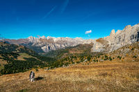 Beautiful panorama view of the Sellastock massif in the italian Dolomites mountains