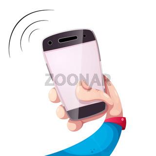Funny cartooon smartphone, hand illustration.