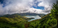 Panorama of a volcanic lake on Sao Miguel (Lagoa do Fogo)
