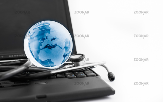 Glass globe and stethoscope