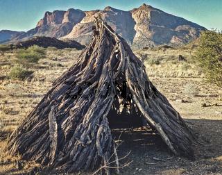 bushmen wooden hut in Namibia