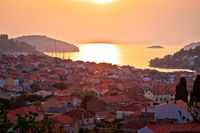 Korcula. Waterfront of Vela Luka sunset view