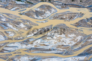 aerial view of kunlun river, riverbed texture background