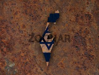 Karte und Fahne von Israel auf rostigem Metall - Map and flag of Israel on rusty metal
