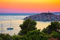 Adriatic tourist destination of Primosten archipelago sunset view