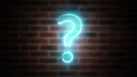 Question mark neon sign on a background of brickwork, computer generated. 3d rendering of wireframe symbol with glowing laser light