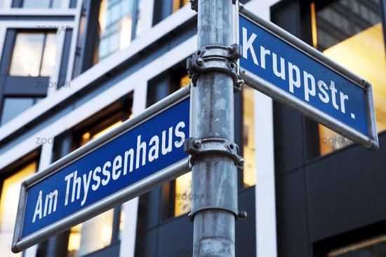 street name signs Am Thyssenhaus and Kruppstr., Essen, Ruhr Area, Essen, Germany, Europe