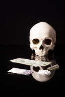 cocaine or other illegal drugs with skull