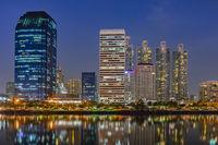 Building city night scene in Bangkok, Thailand.