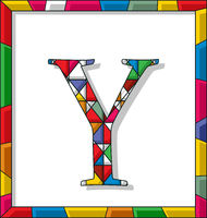 Letter Y in stained glass