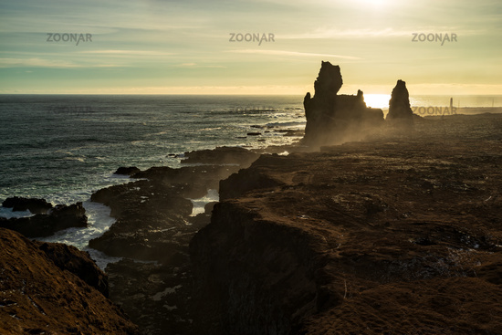 Londrangar in Snaefellsnes peninsula at sunset, Iceland