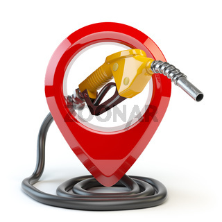 Gas station icon  isolated on white background. Pin with gas nozzle.