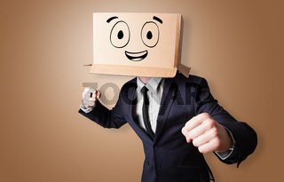 Man with smiling carton box head