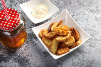 Potato Wedges with Apple Juice / Cold Drink and Mayonnaise Sauce