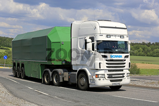 Scania Semi Glass Transport Trailer on Road