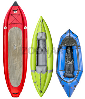 nflatable paddleboard, kayak and packraft