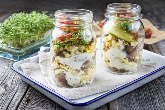Brotzeit im Glas – traditional Bavarian snack with ham
