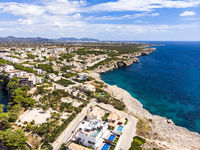 Aerial view, Porto Cristo, coast with villas and natural harbor, Mallorca, Balearic Islands Spain